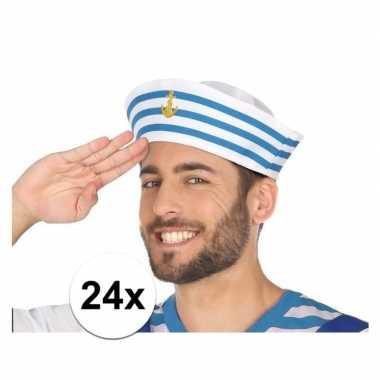 X wit/blauw matrozen verkleed petjes volwassenen